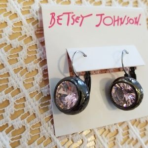 Betsey Johnson pink crystal earrings